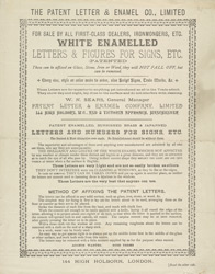 Advert for the Patent Letter & Enamel Company, Limited, reverse side